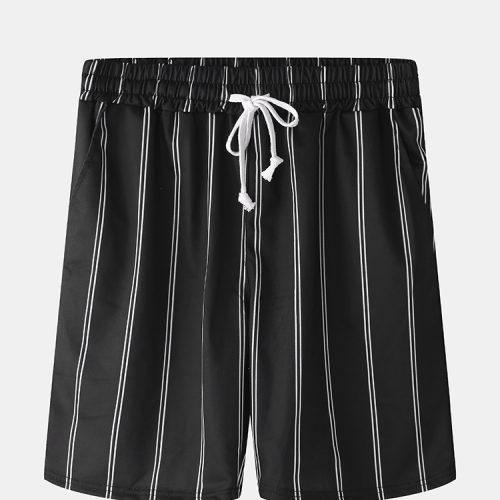 Men Casual Elastic Waist Drawstring Pocket Stripes Home Shorts