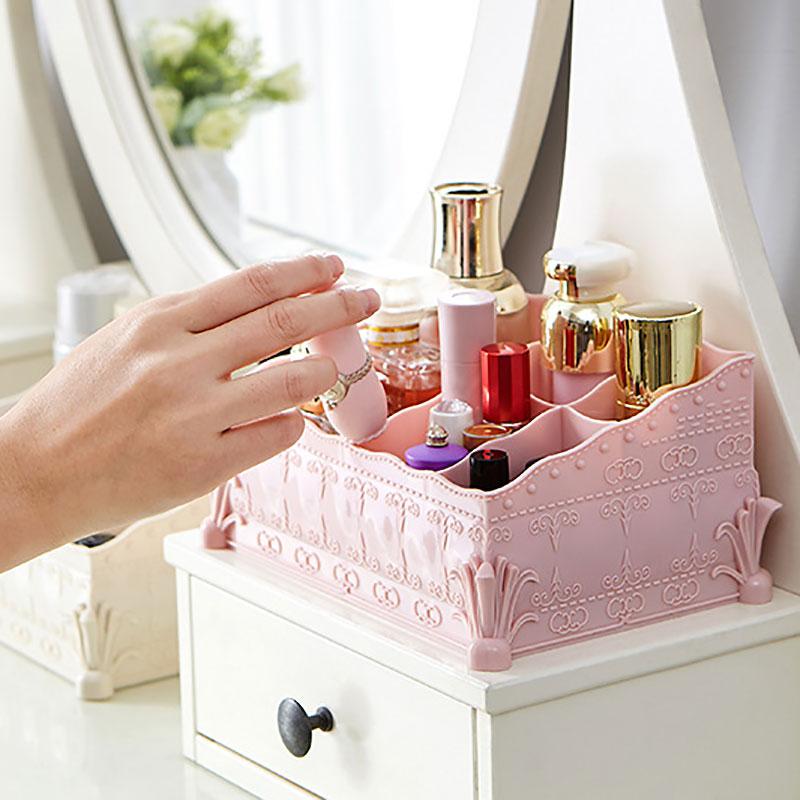 European Style Plastic Desktop Drawer Makeup Jewelry Organizer Holder Storage Box Jewelry Box