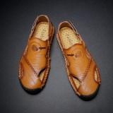 Men Genuine Leather Hollow Out Hook&Loop Beach Sandals