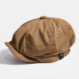 Men Octagonal Newsboy Cap Cabbie Lvy Flat Hat Vintage Painter Beret Caps