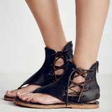 Women Roman Retro Plus Size Clip Toe Strappy Slingback Summer Flat Sandals