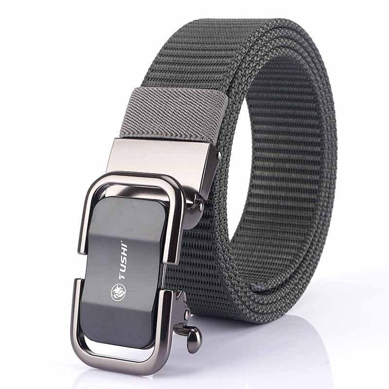 TUSHI 125cm 3.4cm Width Men Nylon Waist Belts Tactical Belt Quick Unlock Inserting Metal Buckle
