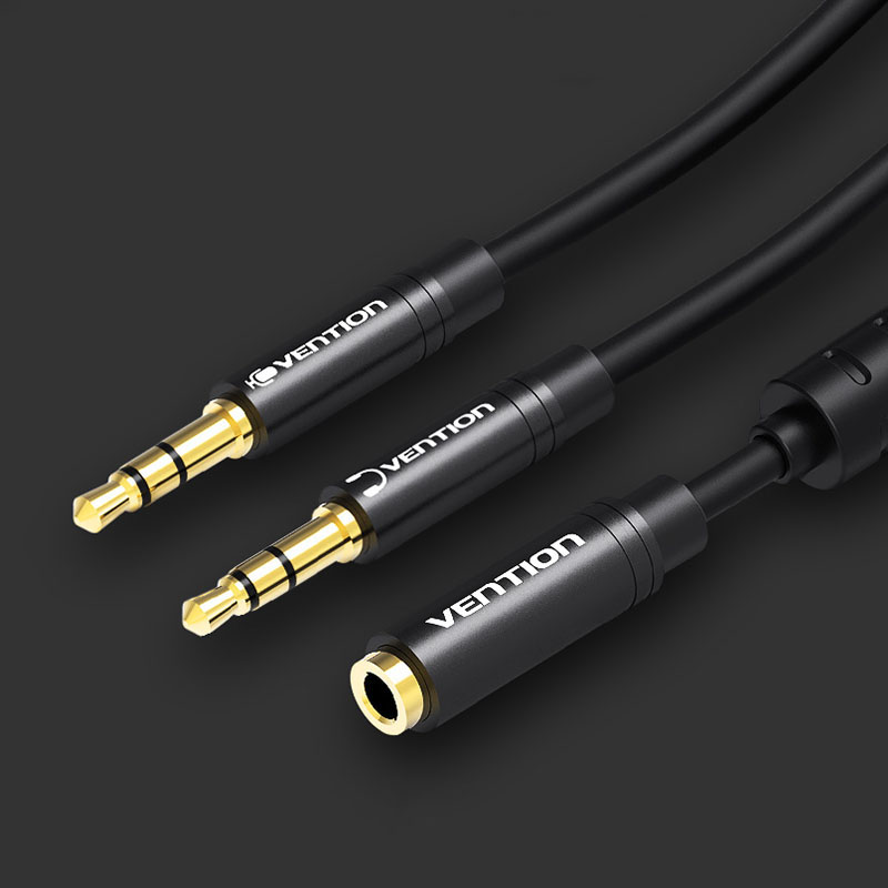 Vention BBO 3.5mm Audio Splitter Cable 3.5mm Female to 2 Male 3.5mm Audio Cable 3.5mm Mic Y Splitter Headset to PC Adapter with Magnetic Ring
