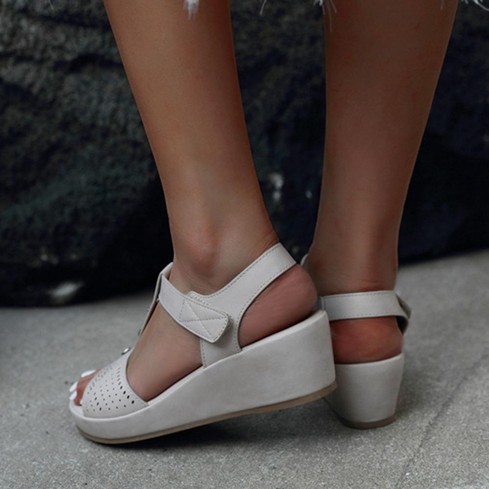 Women Hollow Out Rhinestone Breathable Hook Loop Peep Toe Summer Casual Wedge Sandals