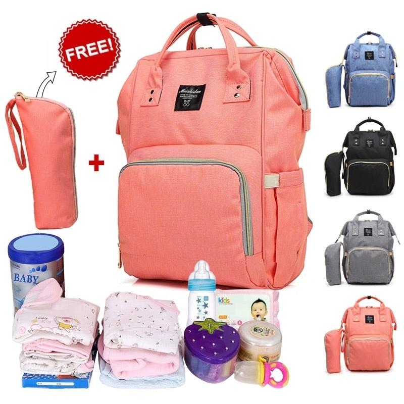 Multi-function Mother Mama Baby Feeding Water Bottle Nursing Bag Diaper Waterproof Bag Stroller Backpack Computer Bag for Women Mom Outdoor Travel