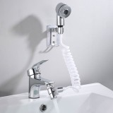 Bathroom Bathtub Wash Face Basin Water Tap External Shower Hand Held Spray Mixer Spout Faucet Tap Wall Mounted Kit Rinser Extension Set Hair Washing Pet Clean