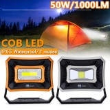 Rechargeable Work Light 50W 1000LM USB Waterproof COB LED Worklight Flood Lamp Battery Powered 2 Lights Models Emergency Lights Outdoor Camping Lamp Strong Light – Low Light Portable