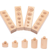 4 PCS Set Educational Wooden Toys for Children Cylinder Socket Blocks Toy Jigsaw Puzzle Toy Baby Development Practice