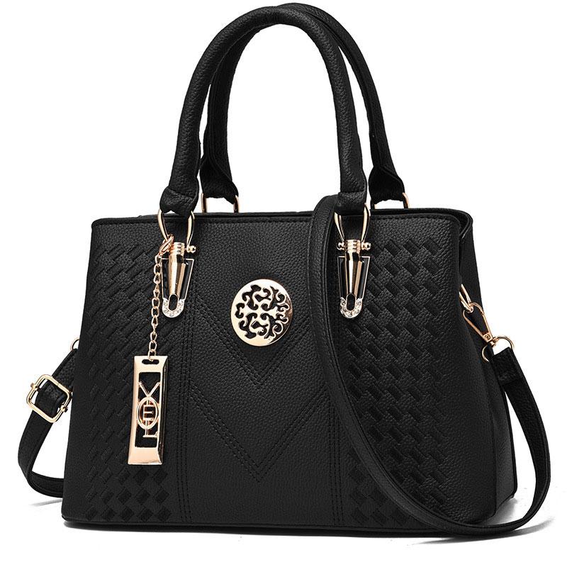 Womens Purses and Handbag Vintage Shoulder Bag Lichi Pattern Large Tote Bag Top Handle Satchel with Long Metal String Decoration