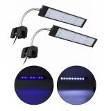 100-240V 10W Clip-on LED Aquarium Light Fish Tank Decoration Lighting Lamp with White & Blue LEDs, Touch Control, 2 Modes