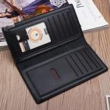 Men's Slim Leather Long Wallet Bifold Clutch Credit Card Holder Coin Purse Bag