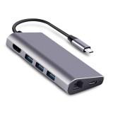 JULI 213B 8 in 1 USB 3.1 Type C Data HUB with 3*USB 3.0 4K HD RJ45 Networking PD Charging TF/SD Card Reader Docking Station for Tablet Laptop