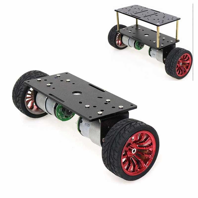 2Wd Double Layer Balance Chassis Smart Robot Car DIY Kit 65mm Plastic Wheel/Black Aluminum Panel