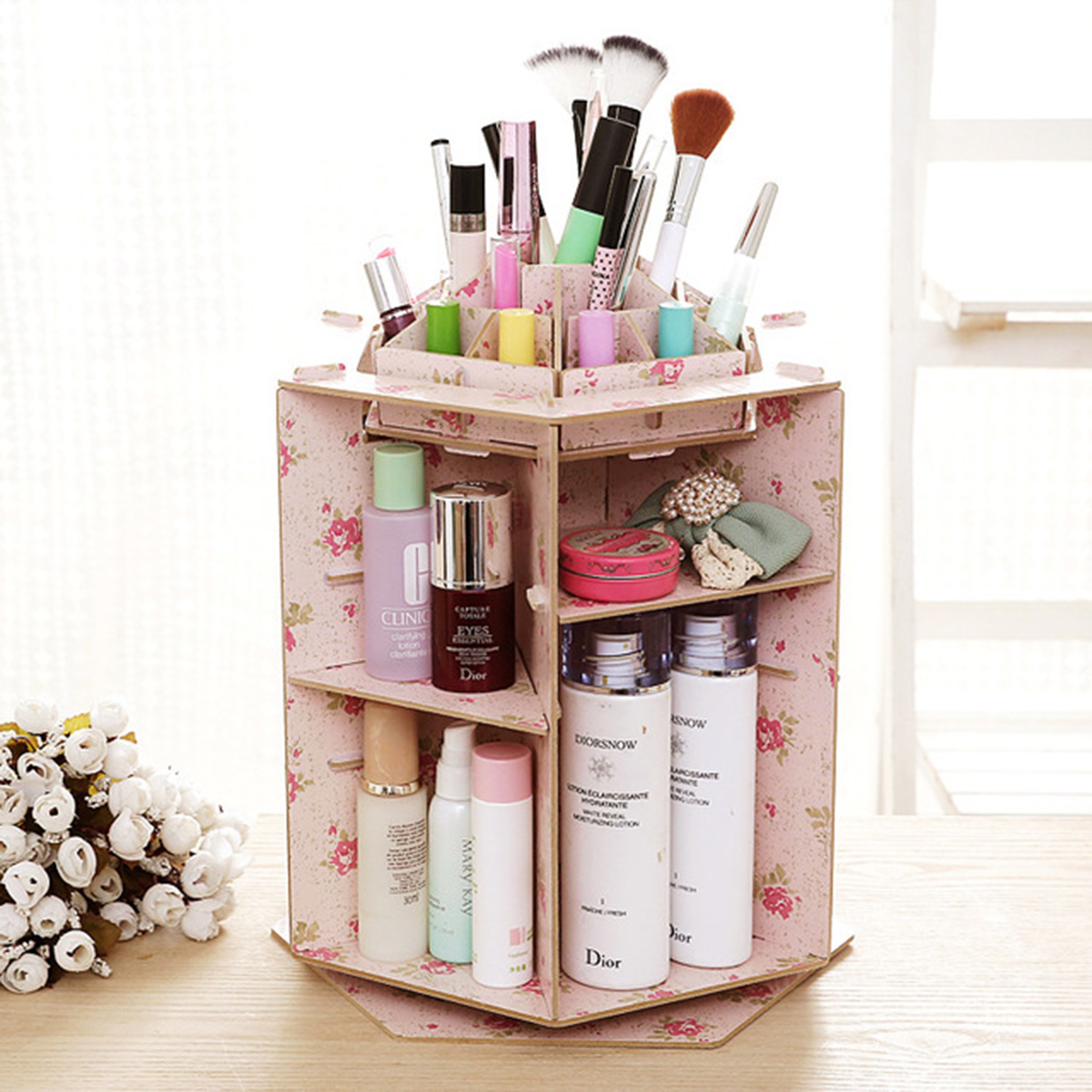 Multifunctional Desktop 360 Rotating Cosmetic Storage Box Wooden Makeup Organizer Case with Mirror Multi Drawers Large Capacity DIY Jewelry Container