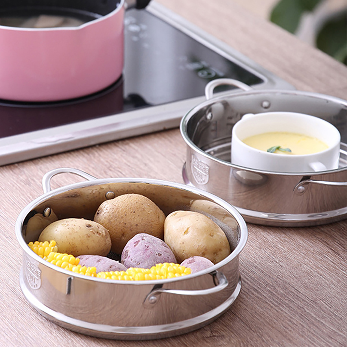 Stainless Steel Steamer Cookware Kitchen Cooking Pot Steam Cooker 16/18CM