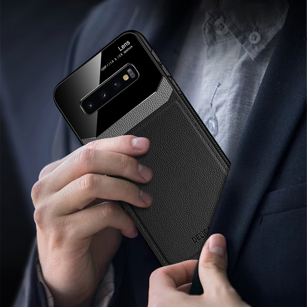 For Samsung Galaxy S10e Bakeey Luxury Business PU Leather Mirror Glass Shockproof Protective Case