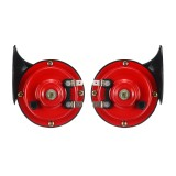 12V Loud Air Horn Waterproof High Low Dual Tone For Motorcycle Car Van Boat Siren Twin Lorry Red Black