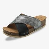 Women Cross Splicing Open Toe Comfy Summer Casual Wedge Sandals