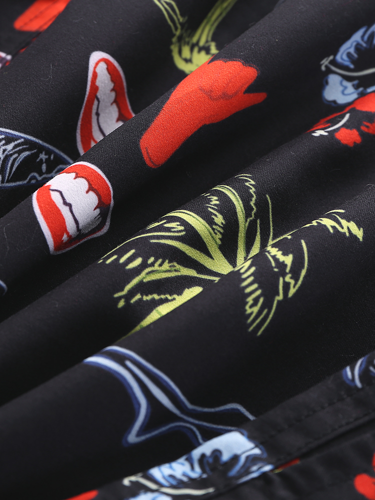 Mens Quick Drying Casual Beach Five Point Pants Coconut Tree Print Shorts