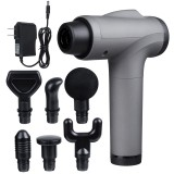 30 Speeds Electric Percussive Massager Rechargeable Mute Fascia Muscle Shock Vibration Therapy Device + 6 Heads