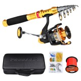 Proberos 1.8M/2.1M/2.5M/2.7M Carbon Fibre Long-Range Fishing Rod + Fishing Reel + Fishing Line + Fishing Bag + Bait Box Fishing Tackle Set Fishing Rod Reel Combo