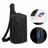 OZUKO Men's Oxford Student Outdoor Sports Casual Crossbody Bag Travel USB Waterproof Bag Shoulder Sling Bag Chest Bag