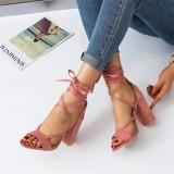Women Plus Size Strappy Open Toe Suede High Heel Summer Sandals