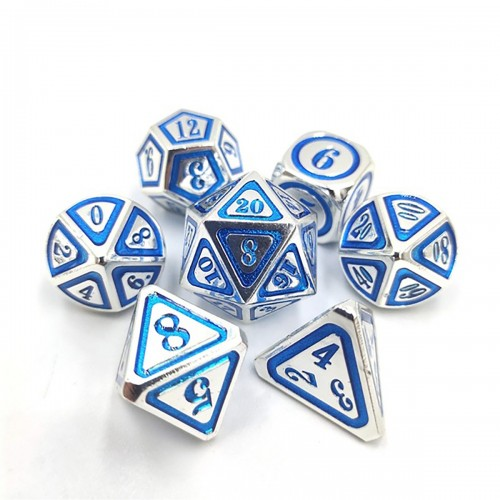 7Pcs/Set Metal Polyhedral Dices Set Role Playing Dungeons and Dragons Bag Bar Party Table Games Dice
