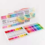 24 Colors Soft Double Head Watercolor Pen Dual Tip Brush Pen Set Hook Line Pen Art Drawing Pen Office School Supplies