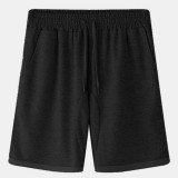 Men Loose Casual Home Solid Color Elastic Waist Drawstring Pocket Sport Shorts