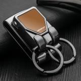Spring Buckle Clip on Belt Double Loops Silver Keychain Key Rings Key Holder