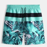 Mens Beach Striped Printing Casual Five Point Shorts Pants