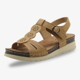 Women Hollow Out Breathable Open Toe Buckle Casual Summer Wedge Sandals