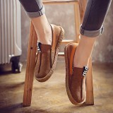 Women Stitching Soft Sole Round Toe Slip On Casual Flats Loafers