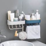 No Drilling Shower Caddy with Self-adhesive Glue & Hooks Storage Basket Bathroom Shelf Rack Wall Mounted Rack for Kitchen Bathroom