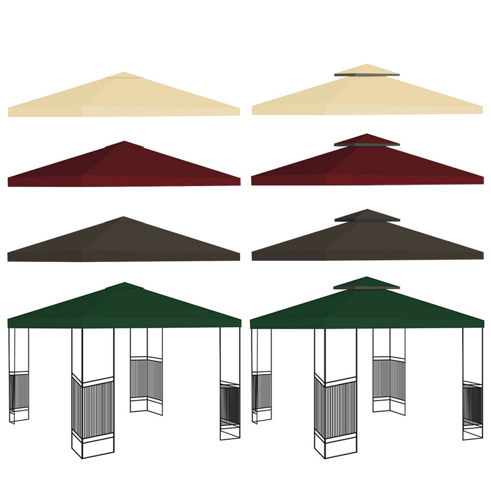 2-Tier 3x3m Garden Gazebo Top Cover Roof Replacement Fabric Tent Canopy