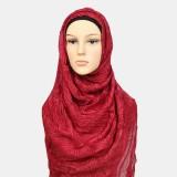 Women Polyester Solid Color Silk Ethnic Turban Hijab Scarf