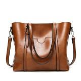 Women Large Retro Handbag Leather Shopping Bag Crossbody Shoulder Tote