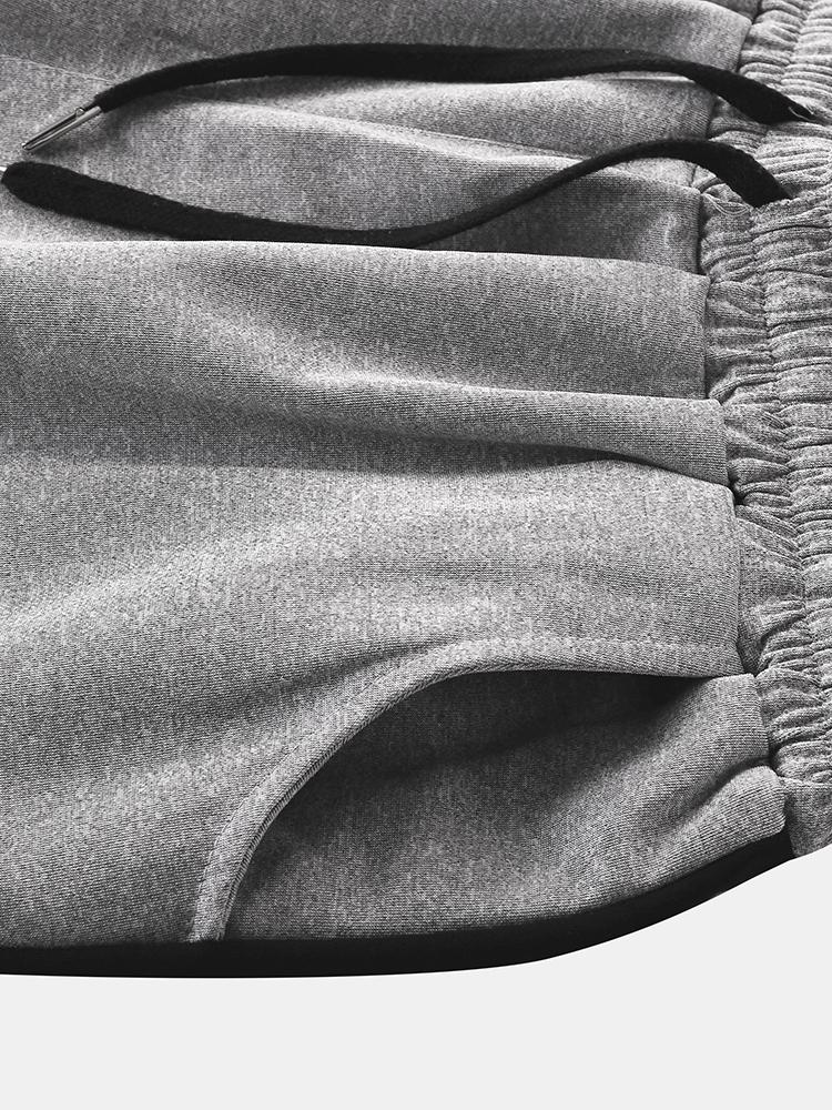 Men Sport Casual Sport Elastic Waist Drawstring Pocket Black Border Home Shorts
