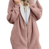 Women Solid Color Long Sleeve Zipper Casual Coats Jacket