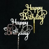 Happy Birthday Acrylic Cake Topper Decorations Silver Gold Party Supplies