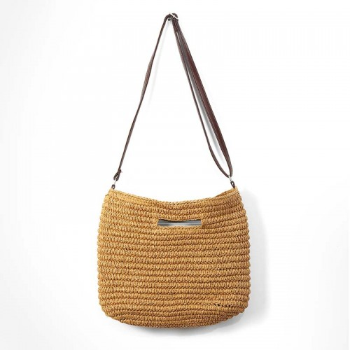 Straw Bag Handmade Shoulder Basket Bag Straw Summer Straw Beach Shopping Tote