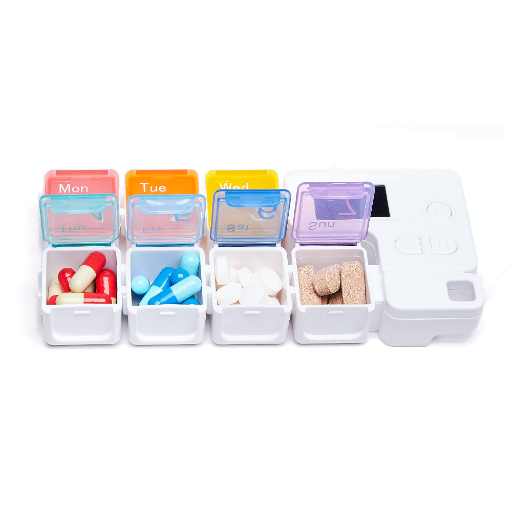 IPREE Smart Pill Storage Box Electronic Timing Reminder Pill Alarm Timing Pill Organizer Tablet Container Case