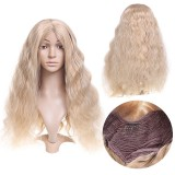 "14-26"" Long Blonde Wavy Wig Synthetic Lace Front Wig Heat Resistant Fiber Hair"