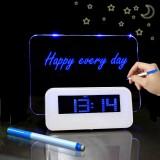MOSEKO Fluorescent Message Board Digital LED Alarm Clock Calendar Night Light Modem Alarm Backlight Desk Clock With USB Cable