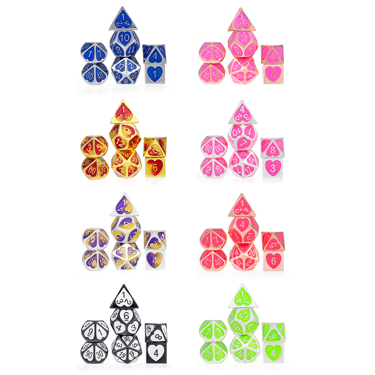 7Pcs Zinc Alloy Polyhedral Dices For RPG MTG DND Dungeons Dragons Role Playing Table Games Dice