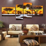5 Piece HD Elephant Forest Canvas Print Poster Wall Art Paintings Home Decor