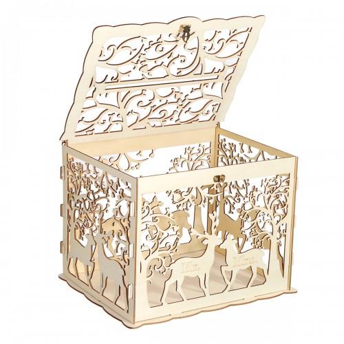 Wooden Loving Deer Wedding Card Box Wedding Money Box Wooden Gift Case With Lock Wedding Birthday Party Anniversary Home