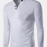 Mens Vintage Cotton Linen V Neck Tops Long Sleeve Casual Henley Shirts