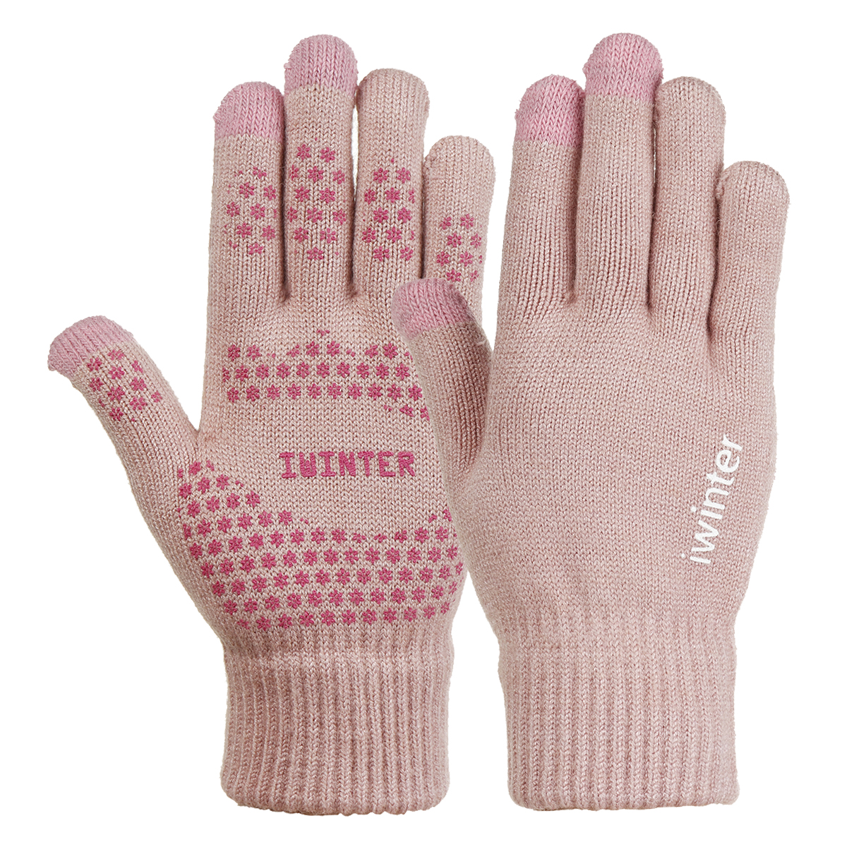 Knitted Touch Screen Outdoor Gloves Motorcycle Winter Warm Windproof Fleece Lined Thermal Non-slip
